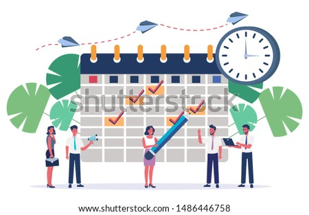 Online schedule in the tablet. business graphics tasks scheduling on a week. Vector illustration