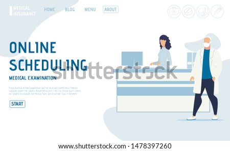 Online Scheduling Service for Appointment on Medical Examination. Flat Landing Page. Nurse Receptionist Checking Schedule on Computer for Male Doctor Standing near Reception Desk. Vector Illustration