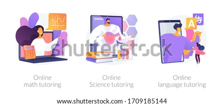 Online school subject learning abstract concept vector illustration set. Online math, science and language video tutoring, online education in quarantine, reach your academic goals abstract metaphor.
