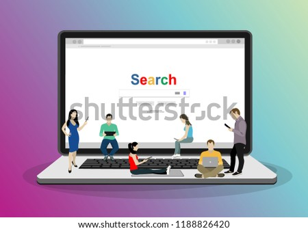 Online search bar concept vector illustration of young people using mobile smarthone and laptop for searching info in web browser. Flat design of guys and women standing on laptop.