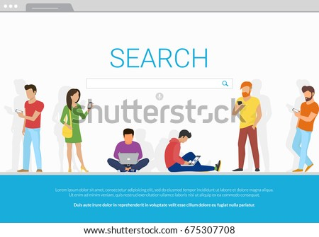 Online search bar concept vector illustration of young people using mobile smarthone and laptop for searching info in web browser. Flat design of guys and women standing into browser webpage frame