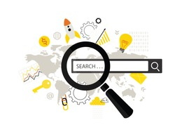 Online search. Modern flat design concept  of  web page with magnifying glass and world map.