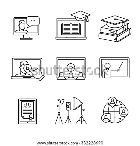 online seminar icons thin line