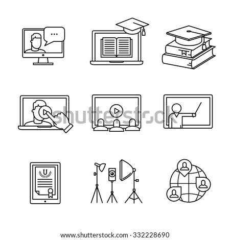 online seminar icons thin line