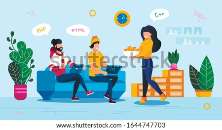 Online Service, Digital Startup Launch Planning Trendy Flat Vector Concept. Female and Male Freelance Programmers, Software Developers Gathering at Home for Cooperative Work on Project Illustration