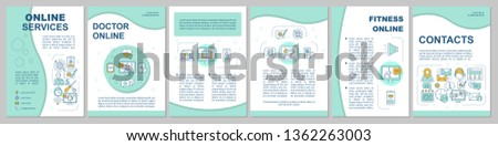 Online services brochure template layout. Health assistance. Flyer, booklet, leaflet print design with linear illustrations. Vector page layouts for magazines, annual reports, advertising posters