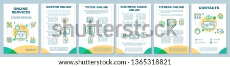 Online services brochure template layout. Web consultation. Flyer, booklet, leaflet print design with linear illustrations. Vector page layouts for magazines, annual reports, advertising posters