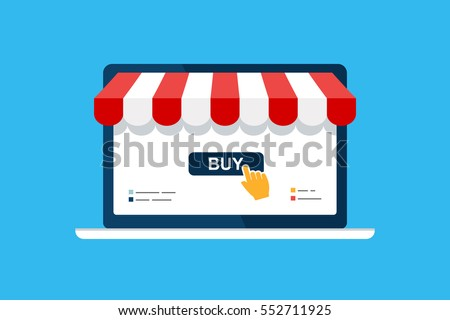 Online shop. Digital Marketing, store, E-commerce shopping concept. Striped awning, laptop screen buy. Colored flat vector icon isolated on blue. Fashion design for web UI, mobile upp, banner, poster
