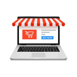 Online shop ecommerce store vector laptop. Buy cartoon flat digital online shop