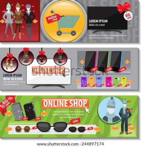 online shop flyer template set