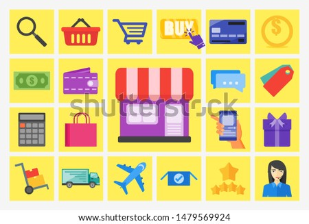 Online Shop  icon set vector Logo illustration and design.  A marketplace commerce and e-commerce system  element.  Can be used for web and mobile development suitable for infographic