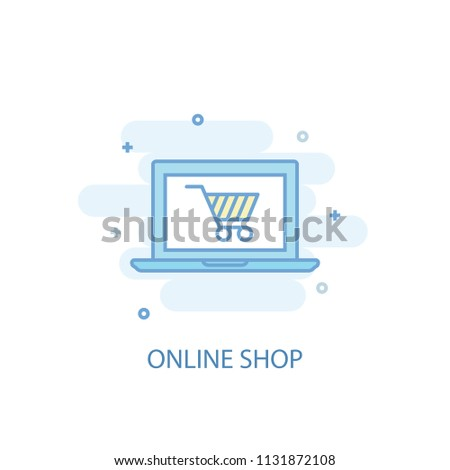 online shop line trendy icon. Simple line, colored illustration. online shop symbol flat design from Online business set. Can be used for UI/UX