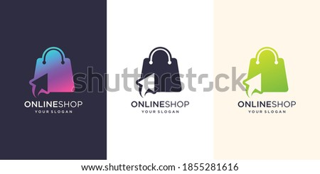 Online shop logo design inspiration.modern, logo bag,online,click.design illustration template. Premium Vector