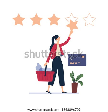 Online shop - modern flat vector illustration concept of woman shopping online Website interaction and purchasing process. Users and client users rate the product of Five stars rating concept.