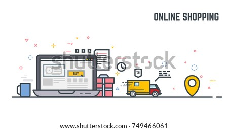 Online shop on laptop monitor. Buying things in online store, with gift and present, and fast delivery. E-commerce illustration. Linear modern, trendy vector banner.