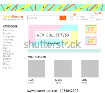 Online shop store concept. Aliexpress.  Web page with categories and products. Vector template