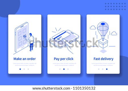 Online shop website or mobile application template. Can use for web banner, infographics, hero images. Flat isometric vector illustration.