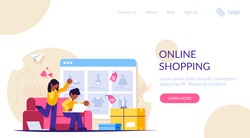 Online shopping. A man and a woman shop at an online store sitting on a couch. The product catalog on the web browser page. Shopping boxes. Landing web page template.