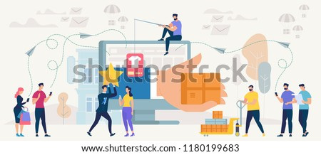 Online Shopping and Delivery Concept. Online Shop App. Ecommerce Sales, Digital Technology and Communication systems in Marketing. Shopping, Order, Pay and Deliver. Vector Illustration