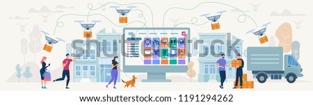 Online Shopping and Delivery of Purchases. Ecommerce Sales, Digital Marketing. Sale and Consumerism Concept. Online Shop Application. Digital Technologies and Shoppin. Flat style Vector Illustration.