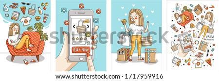 Online shopping and delivery. Vector illustration of a woman shopping for clothes and products and ordering remotely via the Internet on a smartphone.