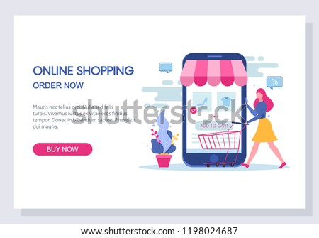 Online shopping and e-commerce concept. Website and landing page template design. Vector.