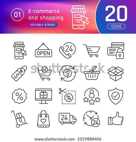 Online shopping and e-commerce line icons set. Pictogram collection suitable for banner, mobile application, website. Editable stroke
