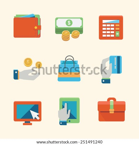 Online shopping and finance icon set