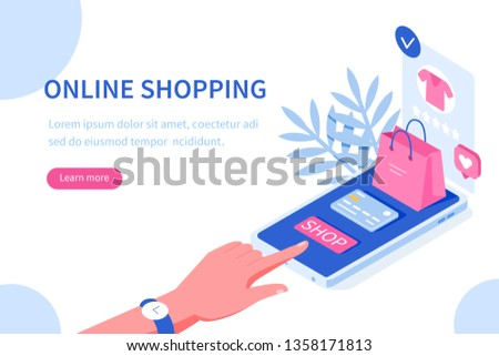 Online shopping and mobile commerce concept. Can use for web banner, infographics, hero images. Flat line isometric vector illustration.