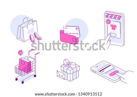 Online shopping and mobile commerce icons collection. Can use for web banner, infographics, hero images. Flat line isometric vector illustration.