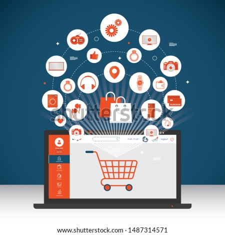 Online shopping and online store concept. Laptop with screen buy. Vector illustration