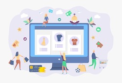 Online shopping. Attracting customers, buyers. The store sells installment goods to people, numbers, signs. Interest free sale. Colorful vector illustration.