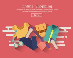 Online shopping banner concept with clothing , accessories and shoes