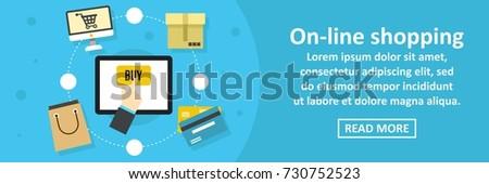 Online shopping banner horizontal concept. Flat illustration of online shopping banner horizontal vector concept for web design