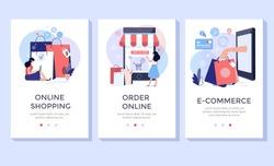 Online shopping banner, mobile app templates, concept vector illustration flat design