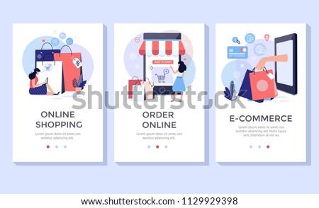 Online shopping banner, mobile app templates, concept vector illustration flat design Foto stock ©