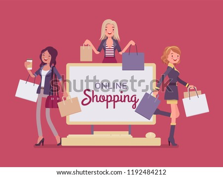 Online shopping banner with happy women. Ladies advertising buying goods or services over the Internet, enjoy comfortable electronic commerce for consumers. Vector flat style cartoon illustration