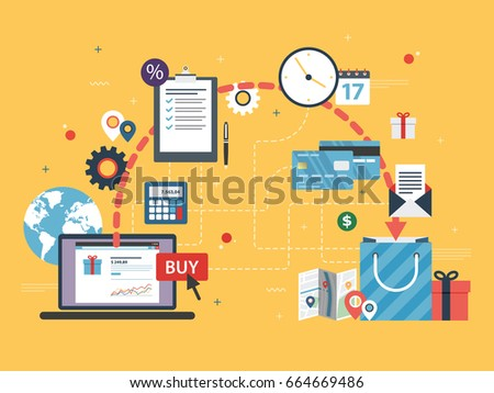 Online shopping. Buy, payment and delivery of product to customer. E-commerce and business icons, finance, credit card and gift, transportation, location and delivery. Flat design vector illustration.