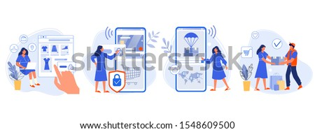 Online shopping. Buyer picked goods, paid for mobile banking, tracking parcel package and customer delivery. Online order flat vector illustration. Shopping with four steps. E purchase, internet store