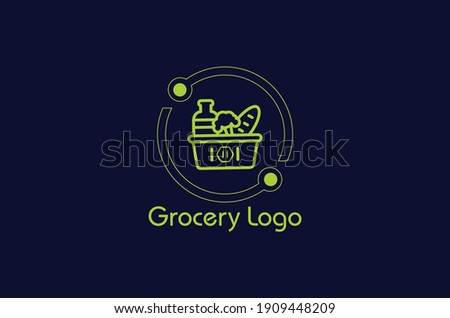 online shopping cart logo,grocery store logo design idea template,new grocery logo,store logo,basket logo,shopping cart logo,new eco Green Grocery logo.