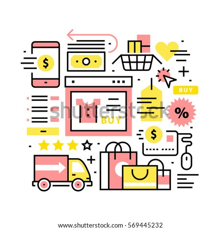 Online shopping collage. Being on internet using mobile storefronts or desktop sites on pc. Modern thin line art icons background. Linear style illustrations isolated on white.