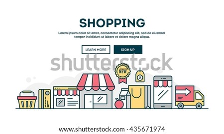 Online shopping, colorful concept header, flat design thin line style, vector illustration