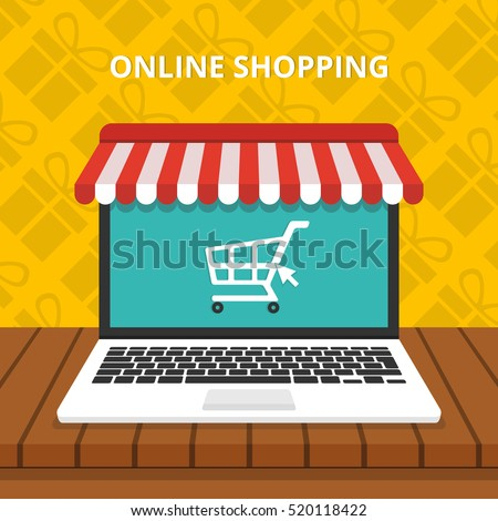 Online shopping concept. Laptop with awning. Gifts on background. Flat vector illustration.