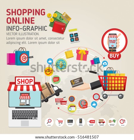 Online shopping concept. Mobile payments. vector illustration. Can be used for workflow layout template, banner, marketing, info-graphics.