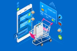 Online shopping, concept of bargain. Sell, commercial retail, cost and price on ecommerce paying screen of the store. Customer order, checkout with credit card. Flat isometric vector illustration.