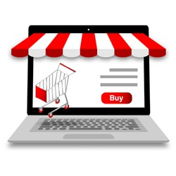 Online shopping concept on store laptop.Vector computer notebook and cart icon modern style on white background.