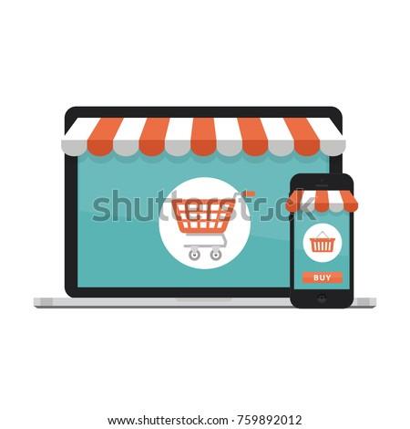 online shopping concept. open...