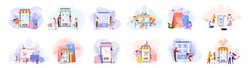 Online shopping concept set. E-commerce, customer on the sale. App on mobile phone and computer. Isolated vector illustration in flat style