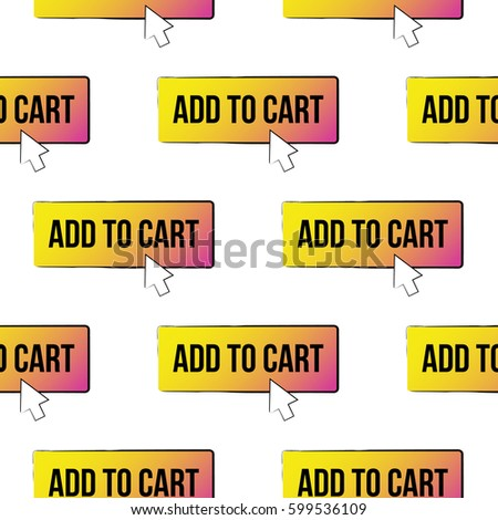 Online shopping concept. Vector add to cart button seamless pattern. Fashion illustration, patches, stickers. Hand sketched background e-commerce style. #599536109