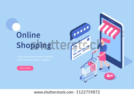 Online shopping concept with character. Can use for web banner, infographics, hero images. Flat isometric vector illustration.